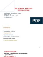 Auditing of hvac system and water system