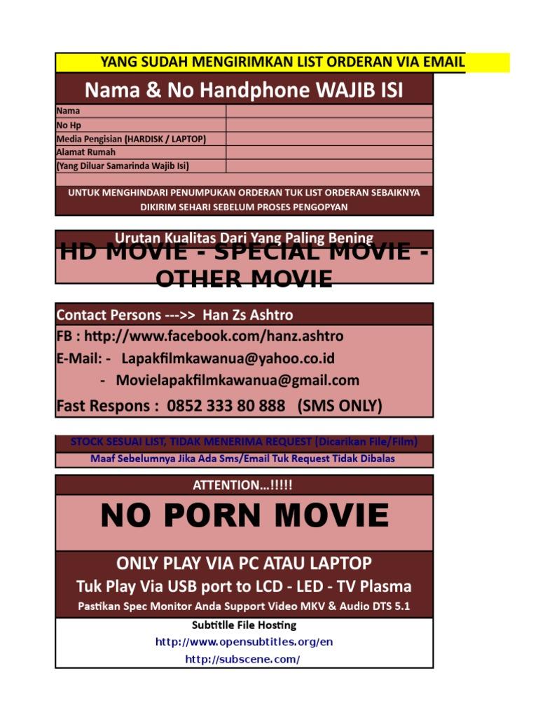 List Film Yang Di Pesan (Tambah Item)