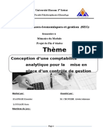 Conception d'une comptabilité analytique pour la    mise en place d'un contrôle de gestion