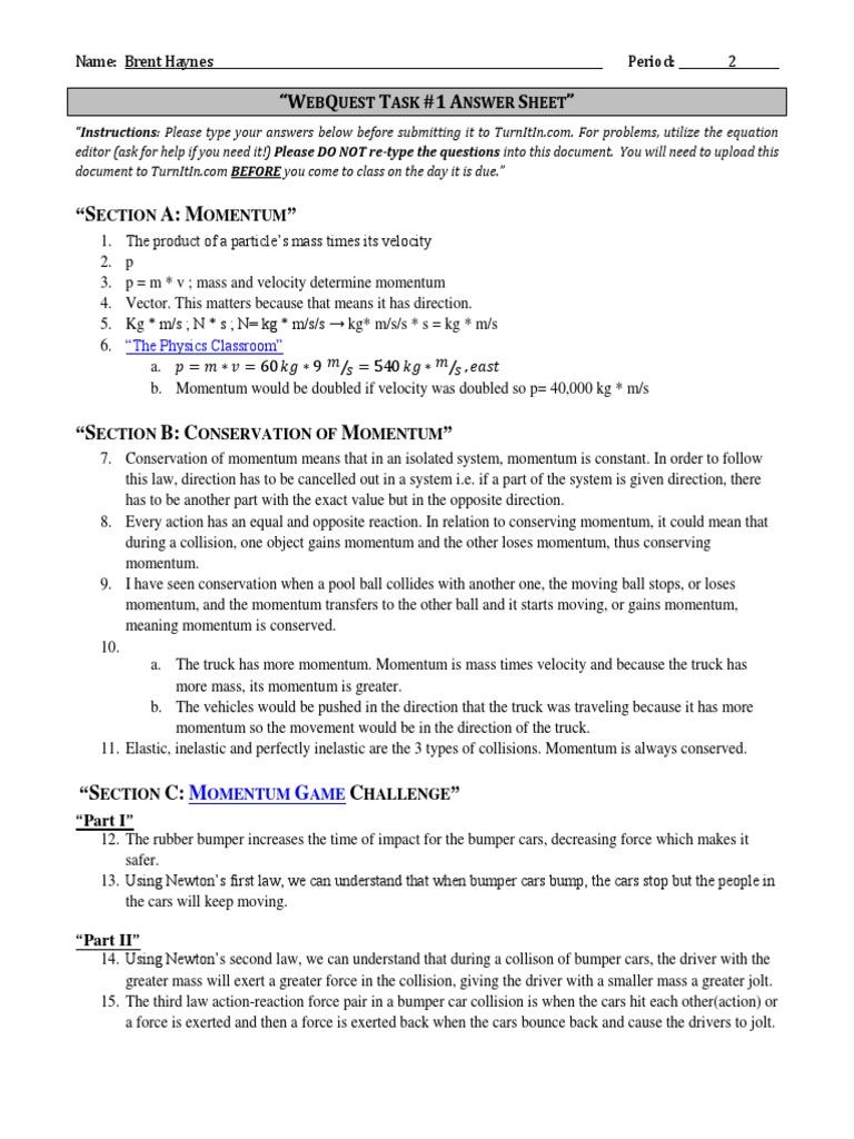 Webquest Task 1 Answers Momentum Collision