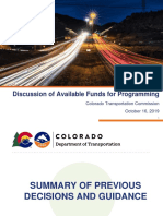 Colorado Department of Transportation October 2019 Colorado Transportation Commission Project List