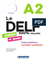 Livret DELF A2 Junior Transcriptions Corriges