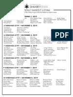November 2, 2019 Yahrzeit List