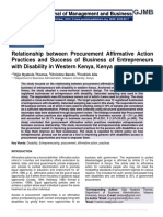 Relationship between Procurement Affirmative Action Practices and Success of Business of Entrepreneurs with Disability in Western Kenya, Kenya