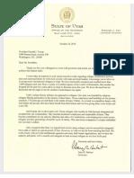 Utah Gov. Gary Herbert's letter to President Donald Trump