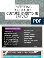 Developing Hospitality Culture