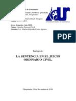 LA SENTENCIA EN EL JUICIO ORDINARIO LABORAL