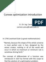 Convex optimization- introduction (S.l. Dr. Ing. Carmen Voicu)