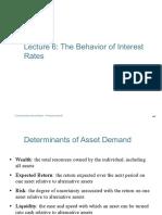 Lecture 6 Behavior of Interest Rates