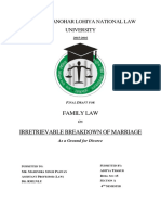 Family Law- Irretrievable Breakdown of Marriage as a Ground for Divorce
