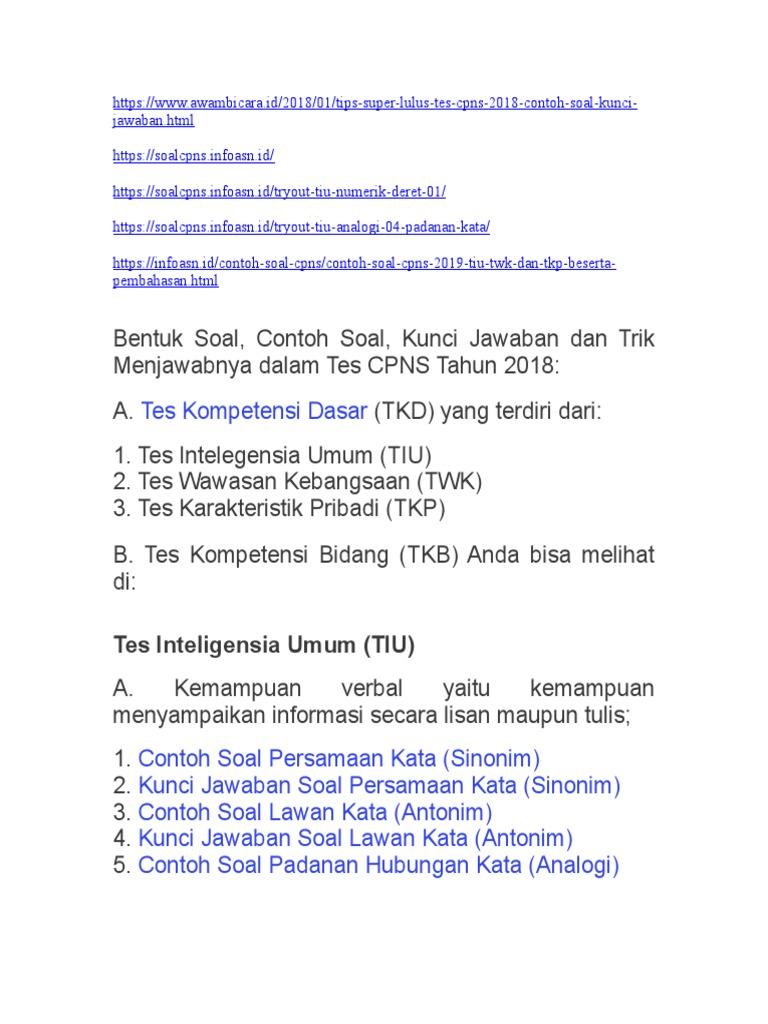 Soal Antonim Cpns 2018 Dan Kunci Jawaban Guru Galeri