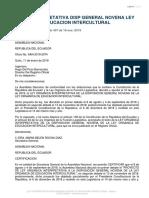 Ley Interpretativa Disp General Novena Ley Orgánica de Educación Intercultural