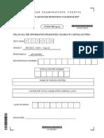Unit 1 Cape  Physics Specimen Paper