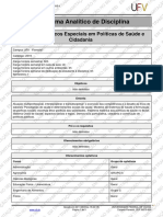 Programa Analitico-Tpicos Especiais Em Polticas de Sade e Cidadania