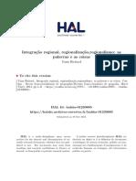 Integracao Regional Regionalizacao Regionalismo