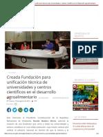 Creada Fundación Para Unificación Técnica de Universidades y Centros Científicos en El Desarrollo Agroalimentario
