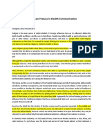 Worldviews, Beliefs, And Values in Health Communication