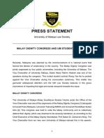 UM Law Society Press Statement 2019