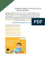 CBSE NCERT Solutions for Class 6, 7, 8, 9, 10, 11, 12 (Updated 2019-20)