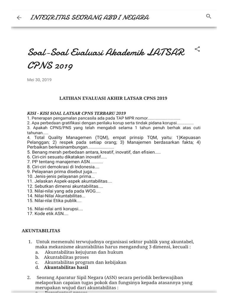 Soal Soal Evaluasi Akademik Latsar Cpns 2019
