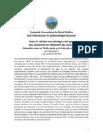 Calidad Microbiológica del Agua. Caracas,Jun-Jul 2019