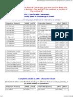 ASCII & ANSI Character Chart