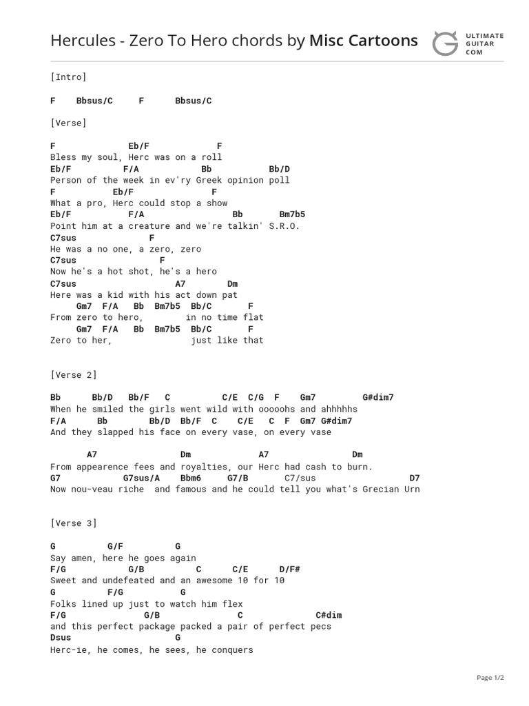 Hercules   Zero To Hero Chords   PDF   Song Structure