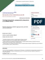 Fisiología Plaquetaria, Agregometría Plaquetaria y Su Utilidad Clínica