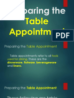 Preparing the Table Appointment