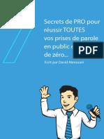 Les 7 Secrets de PRO Pour Réussir TOUTES Vos Prises de Parole en Public en Partant de Zéro- David Marouani
