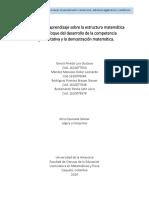 Escenarios de Aprendizaje Sobre La Estructura Matemática Bajo El Enfoque Del Desarrollo de La Competencia Argumentativa y La Demostración Matemática