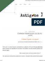 Comment Remplacer Les Œufs _ _ Antigone XXI
