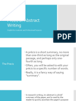 Precis or Abstract Writing