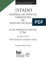 Estado General de Todo El Virreynato de SantaFe de Bogota 1794