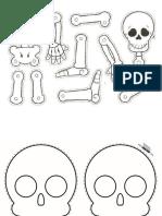 Esqueleto y Calavera Colorear Armable