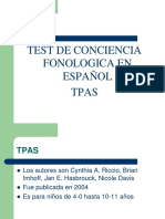 Test de Conciencia Fonologica en Español-TPAS