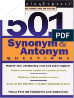 501 Synonyms and Antonyms