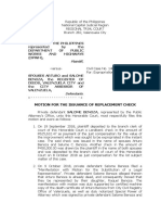 Motion for the Issuance of Replacement Check Benoza