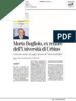 Morto Bogliolo, ex Rettore dell'Università di Urbino - La Stampa del 1 novembre 2019