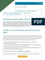 Différences entre ADSL, ADSL 2+ et ReADSL