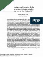 Margarita Levisi - Hacia Una Historia de La Autobiografía Española. Un Texto de Felipe IV (Bulletin of Hispanic Studies, 66, 2, 1989)