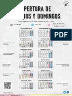 Curso 2019-2020. Calendario de apertura de sábados y domingos