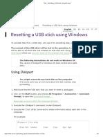 Resetting a USB Stick Using Windows