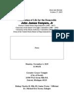 Funeral program for John Conyers