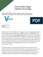 Vapor IO Launches Kinetic Edge Exchange, The World's First Edge Exchange