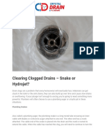 Clearing Clogged Drains – Snake or Hydrojet