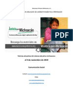Síntesis semanal de noticias del sistema educativo michoacano,  al 4 de noviembre de 2019