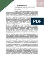 Exposición de motivos - Proyecto de Reglamento de la LPCL