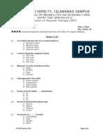 Sample Entery Test-Spring-2010 DPT