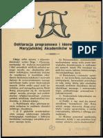 Deklaracja Programowa i Ideowa Sodalicji Maryjańskiej